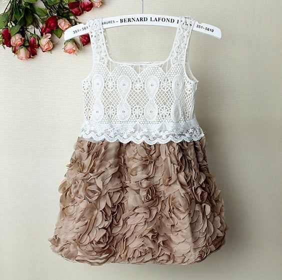 Girls Coffee Rose Lace Dress