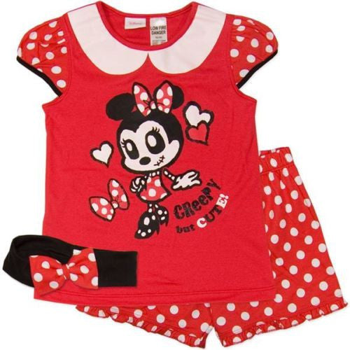 Minnie Mouse Summer Shortie Pjs, with headband