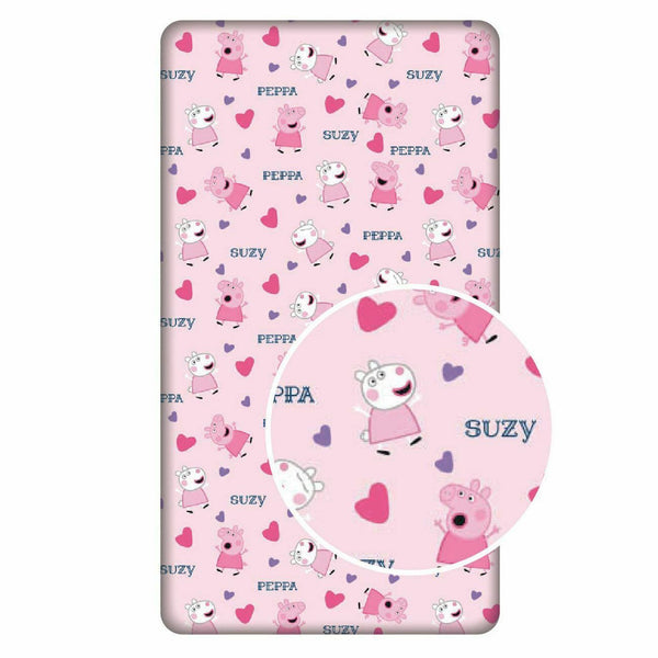 "Peppa Pig ""Hearts""  Single  Fitted Sheet"