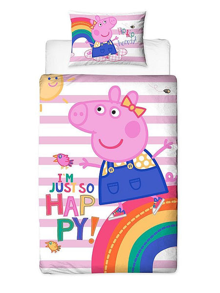 "Peppa Pig ""Im so Happy""  Single Quilt Cover."