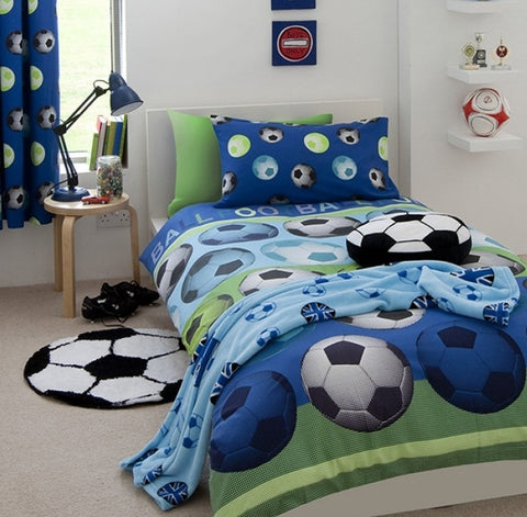 Football Soccer Blue  Single  Quilt cover