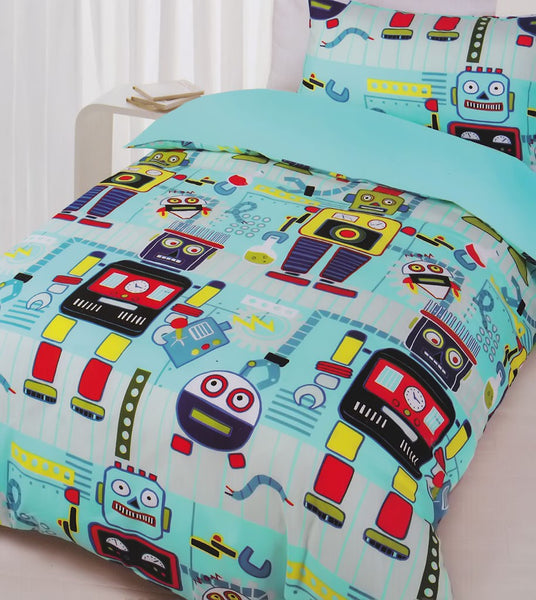 Robots Glow in the dark single quilt cover