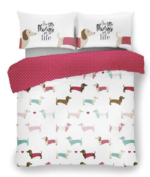 Sausage Dog, Dachshund  Pink Double Quilt Cover