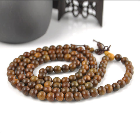 Collier Mala en bois de santal naturel