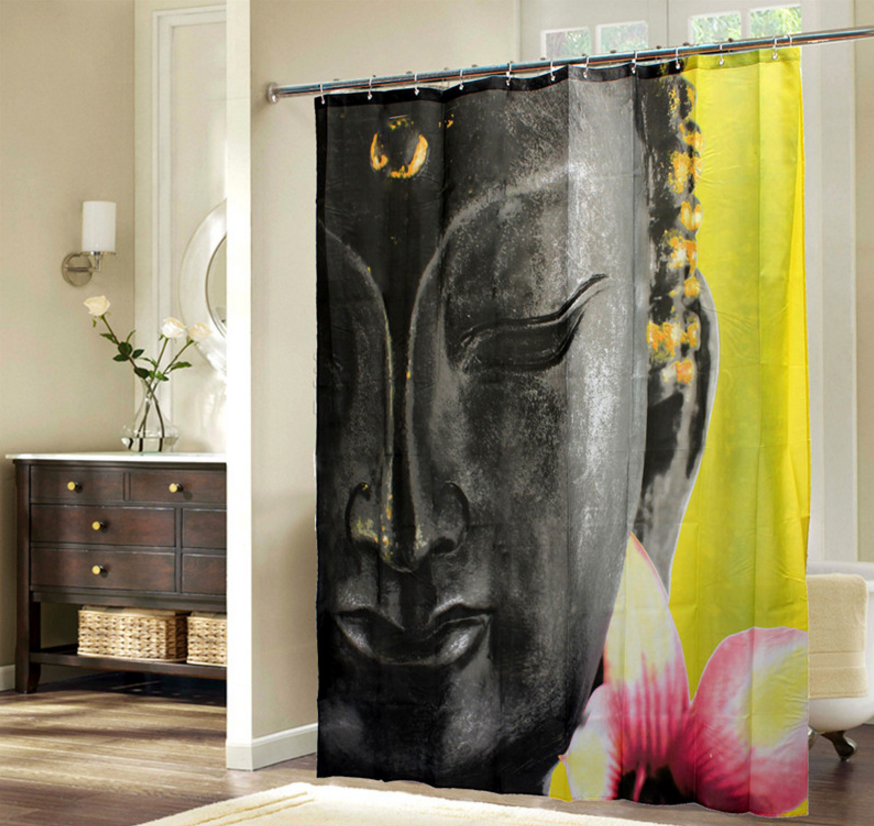 rideau de douche le bouddha le temple zen. Black Bedroom Furniture Sets. Home Design Ideas