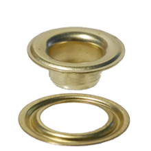 Self-piercing grommet and washer with brass finish - Stimpson