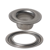 "SPGW #0 (1/4"") Self-piercing Grommets and Washers Brass with finish nickel finish - Stimpson"