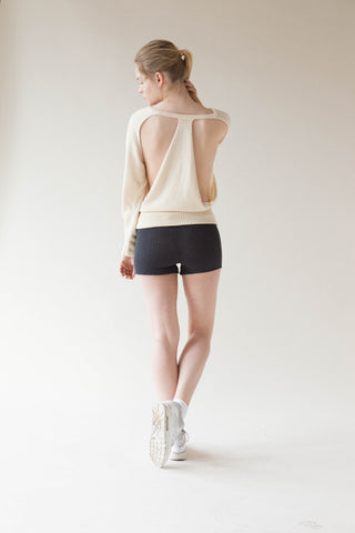 Kimono Open Back Pullover In VegetableCashmere™