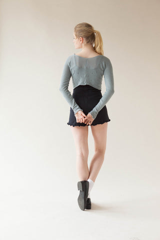 Pointelle Ruesched Crop Top