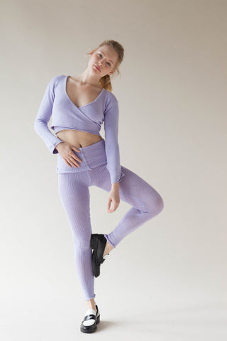 Mock Rib Roll Waist Cotton Leggings