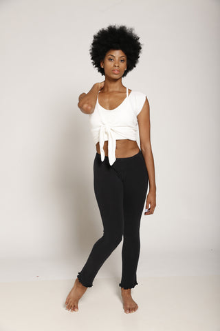 Ruffle Edge Stretch Cotton Pants