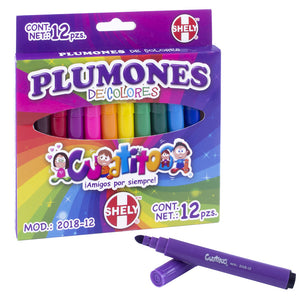 Set de 12 Plumones de colores Shely