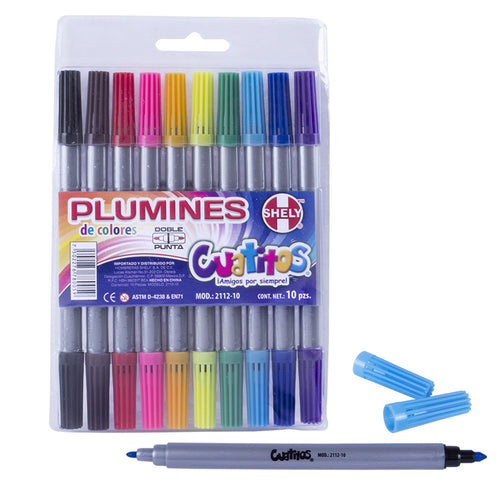 Set de 10 plumines de colores de doble punta Shely