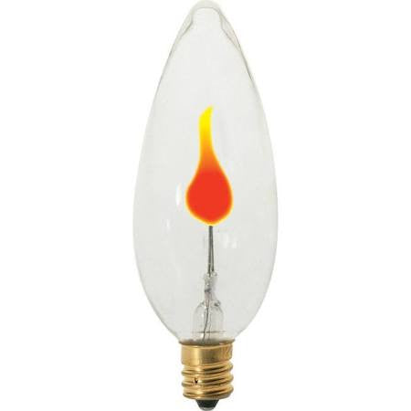 Satco S3659 - 3 Watt Bulb - CA8 - Clear - Flicker Flame - Cand. Base