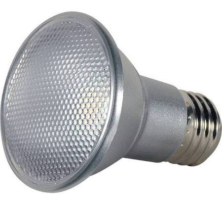 7W PAR20 LED, Narrow Flood, Silver Finish, 2700K, Satco S9400