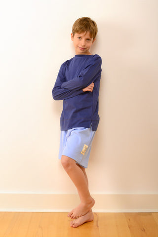 Childrens Bedford Pyjama Set in Blue and Navy