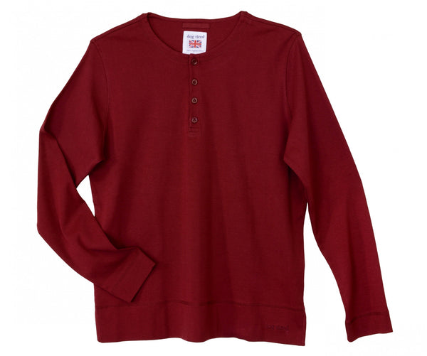Mens Henley Pyjama Top in Port