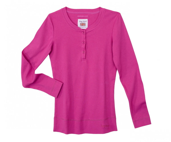 Womens Henley Top in Magenta