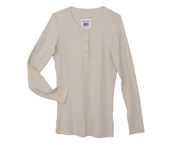 Womens Henley Top in Moonbeam