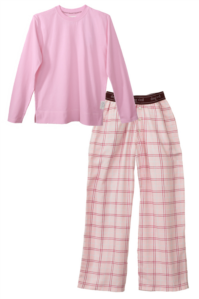 Childrens Upton Long Pyjama Set in Pink