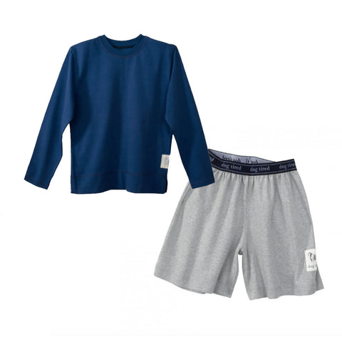 Childrens Bedford Pyjama Set in Grey and Navy