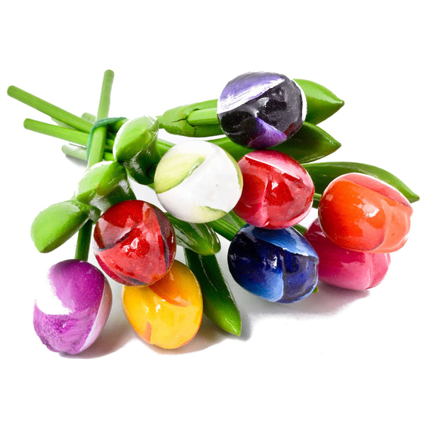 Bouquet of Wooden Tulips, real size, 9 pieces