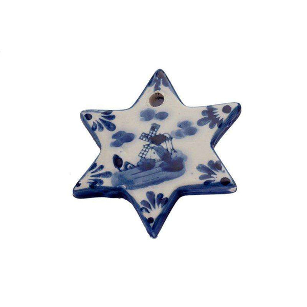 Christmas Ornament, Delft Blue, Flat Christmas Star