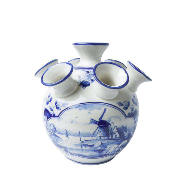 Delft Blue Tulip Vase, Windmill Design, Large