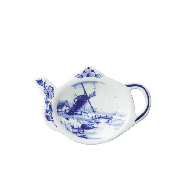 Delft Blue Tea Bag Holder in the Shape of a Teapot