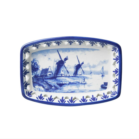 Delft Blue Ajour Bowl with a Windmill, Retangle