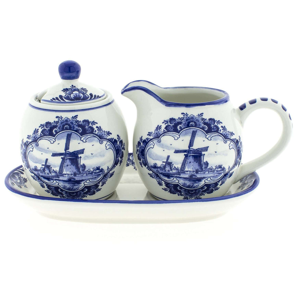 Delft Blue Sugar and Milk Set with Bowl