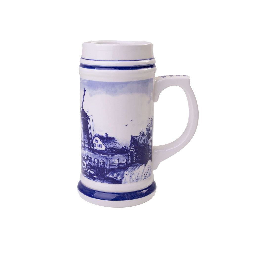 Delft Blue Beer Mug with a Typical Dutch Landscape, Medium
