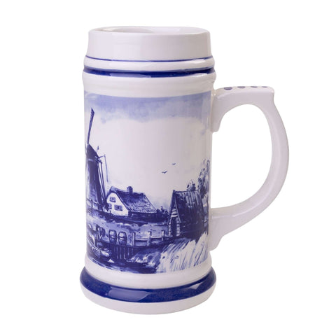 Delft Blue Beer Mug with a Typical Dutch Landscape, Big