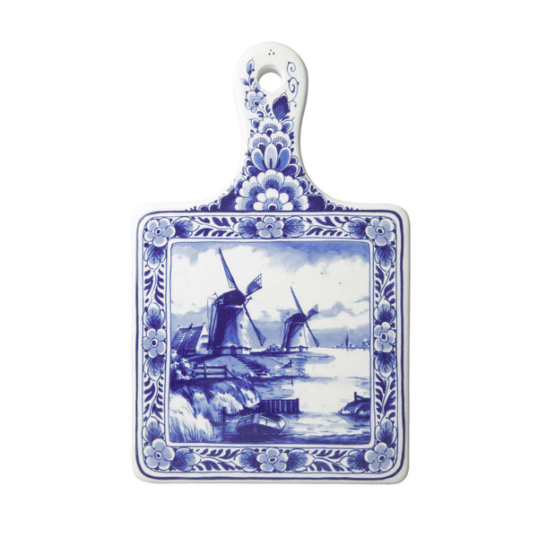 Delft Blue Cheese Board with Windmills, Large