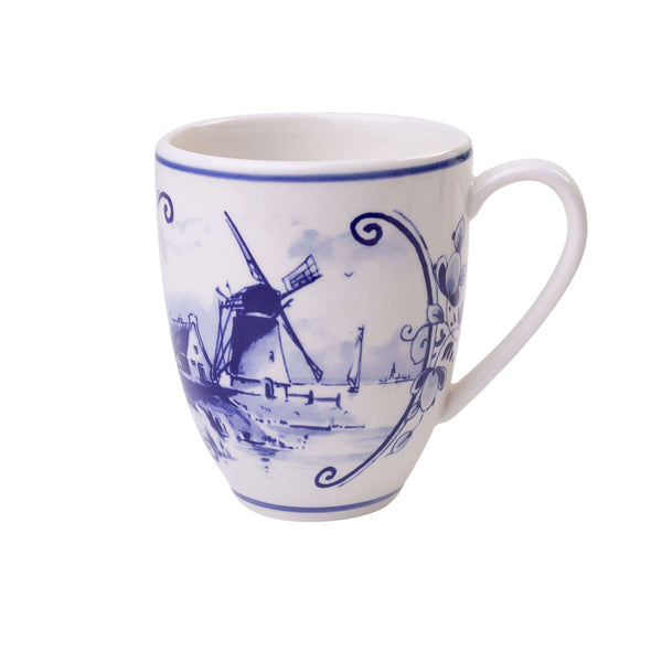 Delft Blue Coffee Mug with a Dutch Landscape with a Windmill 2, 400 ml / 13,5 oz