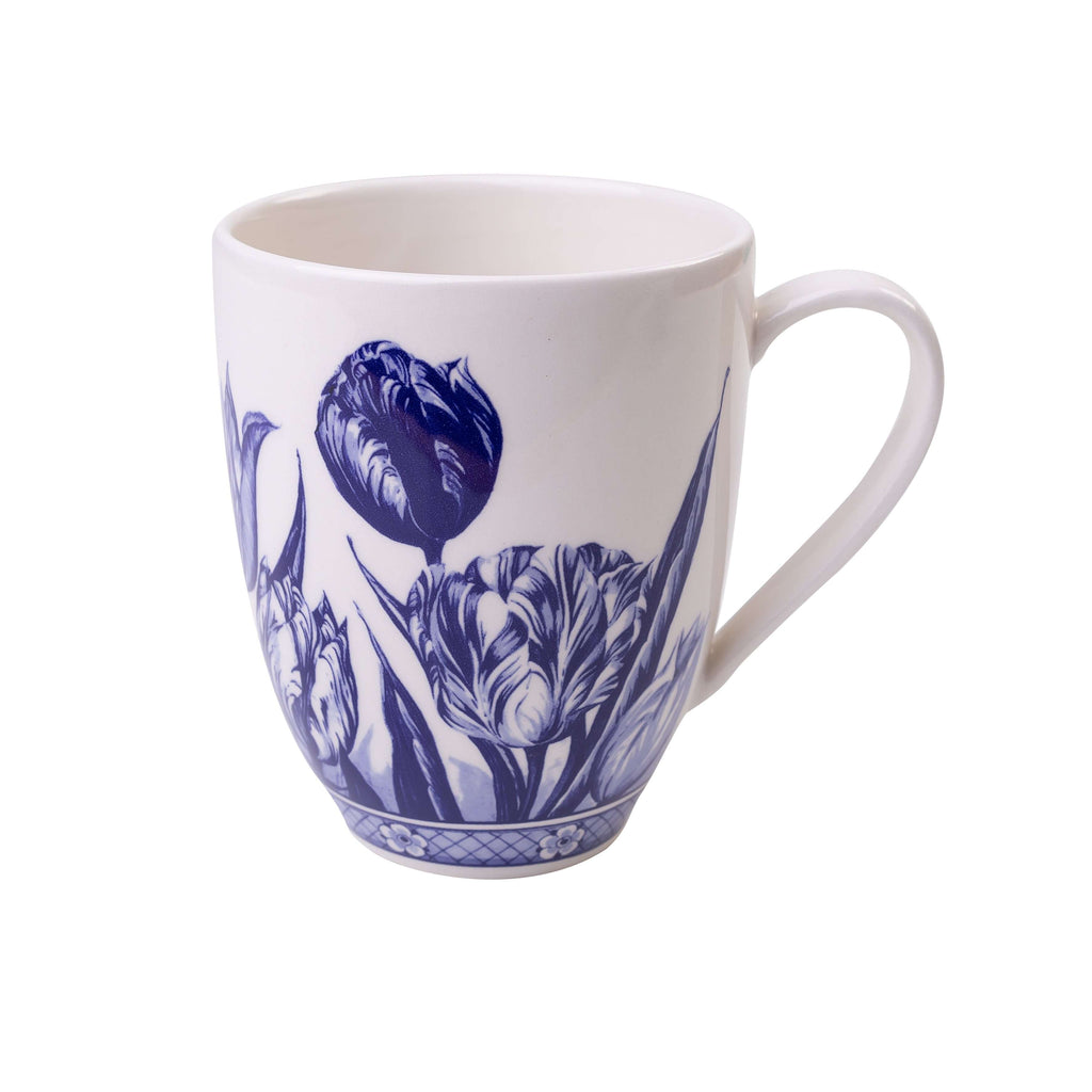 Delft Blue Coffee Mug with Tulip Design