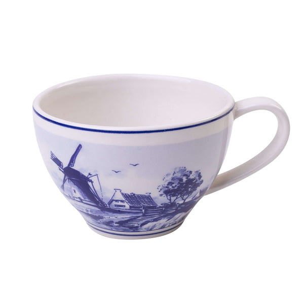 Delft Blue Tea Mug of a Dutch Landscape with a Windmill, 250 ml / 8,5 oz