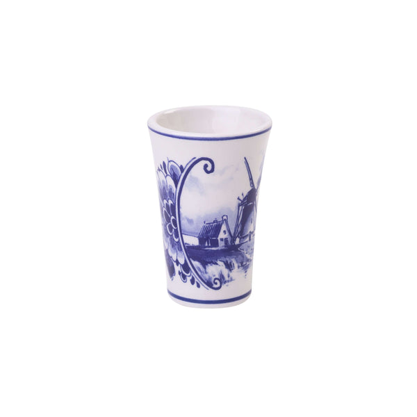 Delft Blue Shotglass with a Dutch Landscape and a Windmill