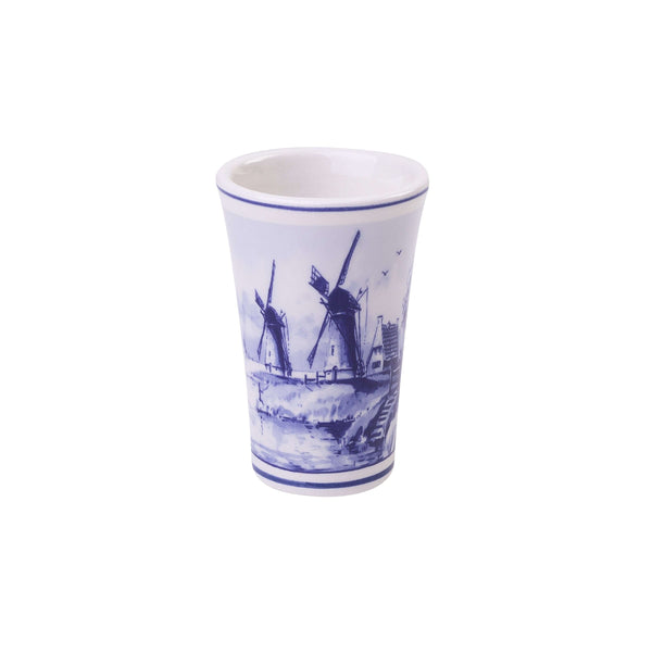 Delft Blue Shotglass with a Dutch Landscape and a Windmill 2