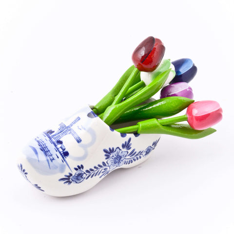Delft Blue Shoe with Wooden Tulips