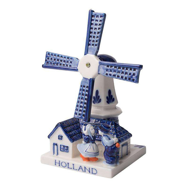 Delft Blue Windmill with a Kissing Couple, Medium