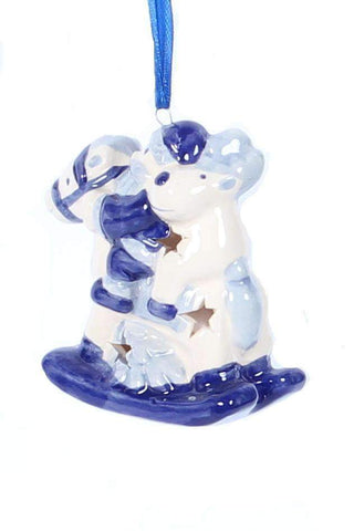 Christmas Ornament, Delft Blue, Santa and Reindeer on a Horse - Woodenshoefactory Marken