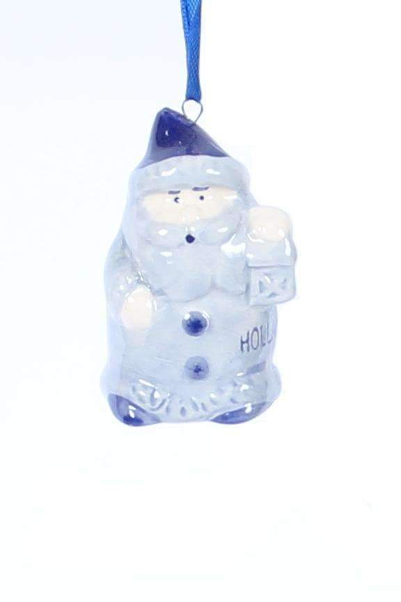 Christmas Ornament, Delft Blue, Santa Claus with Lantern - Woodenshoefactory Marken