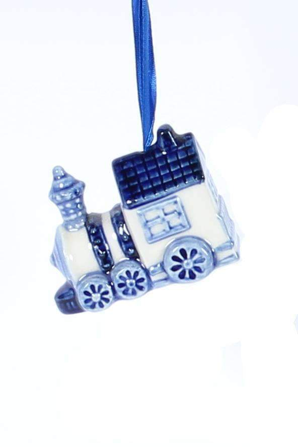 Christmas Ornament, Delft Blue, Train - Woodenshoefactory Marken