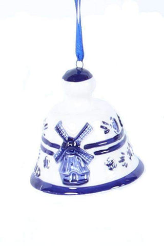 Christmas Ornament, Delft Blue, Bell with Windmill - Woodenshoefactory Marken