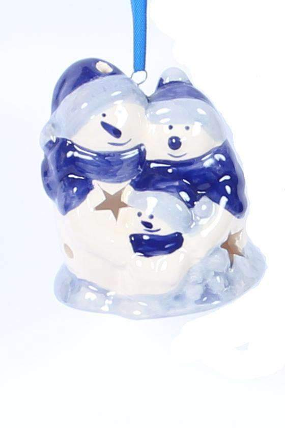 Christmas Ornament, Delft Blue, Snowman Family - Woodenshoefactory Marken