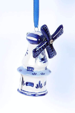 Christmas Ornament, Delft Blue, Windmill 4 - Woodenshoefactory Marken