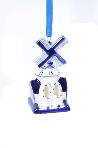 Christmas Ornament, Delft Blue, Windmill 2 - Woodenshoefactory Marken