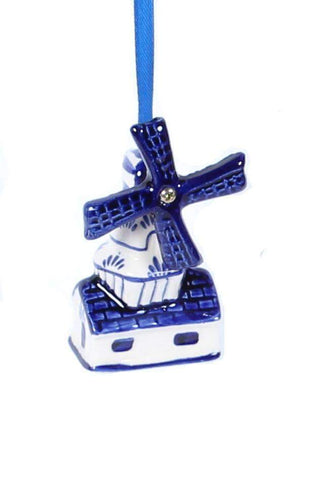 Christmas Ornament, Delft Blue, Windmill 1 - Woodenshoefactory Marken