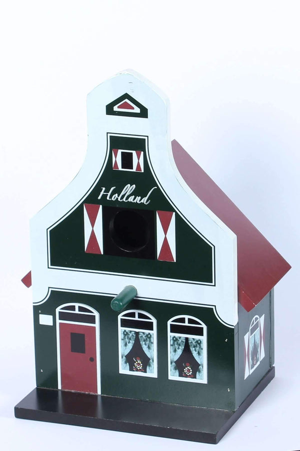 Birdhouse, Traditional Dutch House, Green - Woodenshoefactory Marken